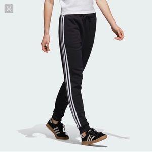adidas Cuffed Cotton Track Jogger Pants Black- 12